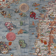 Load image into Gallery viewer, Detail of Ancient Map Mural of land, oceans, and sea monsters in full color, printed on wallpaper. Custom options available.