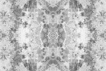 Load image into Gallery viewer, Wall Mural lifestyle image of the Shibori Fabric design in gray color, printed on wallpaper. Custom options available.