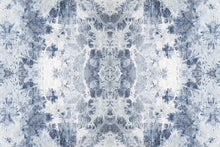 Load image into Gallery viewer, Wall Mural lifestyle image of the Shibori Fabric design in Indigo, printed on wallpaper. Custom options available.