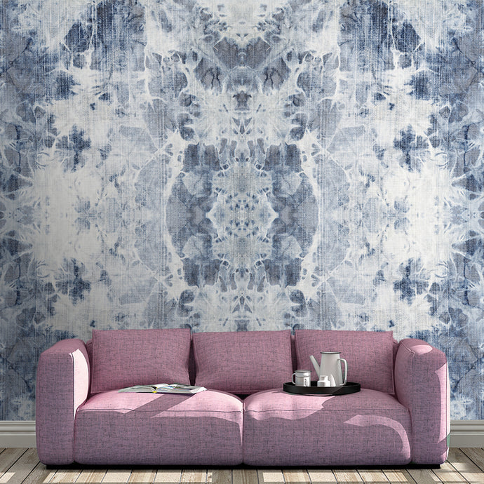 Wall Mural lifestyle image of the Shibori Fabric design in Indigo, printed on wallpaper. Custom options available.