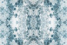 Load image into Gallery viewer, Wall Mural lifestyle image of the Shibori Fabric design in teal color, printed on wallpaper. Custom options available.