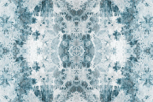 Wall Mural lifestyle image of the Shibori Fabric design in teal color, printed on wallpaper. Custom options available.