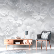 Load image into Gallery viewer, Wall Mural lifestyle image of paper flower design in white color, printed on wallpaper. Custom options available.