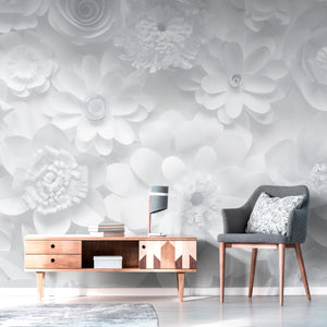 Wall Mural lifestyle image of paper flower design in white color, printed on wallpaper. Custom options available.