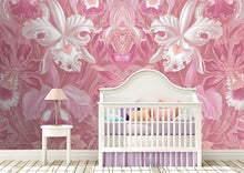 Load image into Gallery viewer, Wall Mural lifestyle image of large scale floral design in pink color, printed on wallpaper. Custom options available.