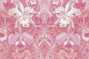 Wall Mural lifestyle image of large scale floral design in pink color, printed on wallpaper. Custom options available.