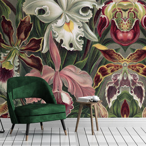 Wall Mural lifestyle image of large scale floral design in full color, printed on wallpaper. Custom options available.