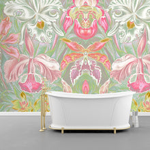 Load image into Gallery viewer, Wall Mural lifestyle image of large scale floral design in pink & mint color, printed on wallpaper. Custom options available.