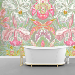 Wall Mural lifestyle image of large scale floral design in pink & mint color, printed on wallpaper. Custom options available.