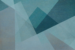 Wall Mural lifestyle image of soft geometric design in dark blue color, printed on wallpaper. Custom options available.