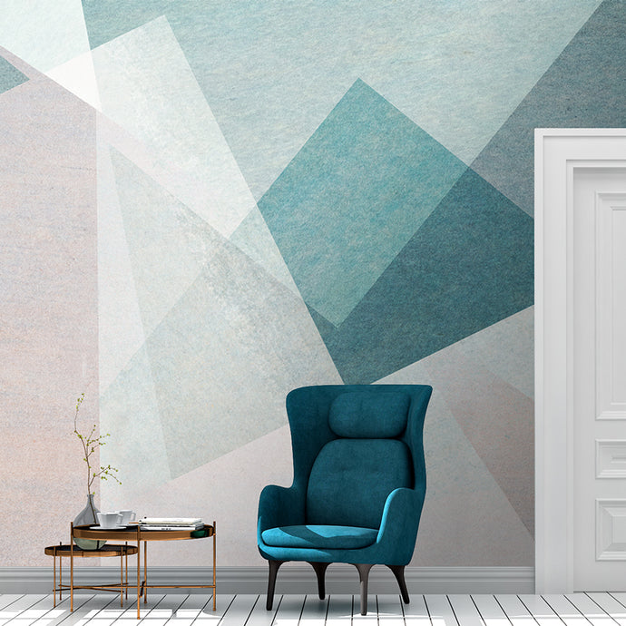 Wall Mural lifestyle image of soft geometric design in blue & pink color, printed on wallpaper. Custom options available.