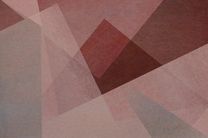 Wall Mural lifestyle image of soft geometric design in rose color, printed on wallpaper. Custom options available.