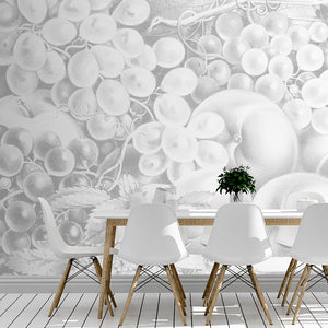 Wall Mural lifestyle image of fruit still life design in light gray color, printed on wallpaper. Custom options available.