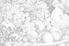 Load image into Gallery viewer, Wall Mural lifestyle image of fruit still life design in light gray color, printed on wallpaper. Custom options available.