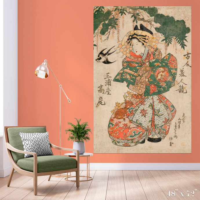 Geisha & Sparrow Colossal Art Print