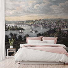 Load image into Gallery viewer, Wall Mural lifestyle image of Georgetown, Washington DC design in full color, printed on wallpaper. Custom options available.