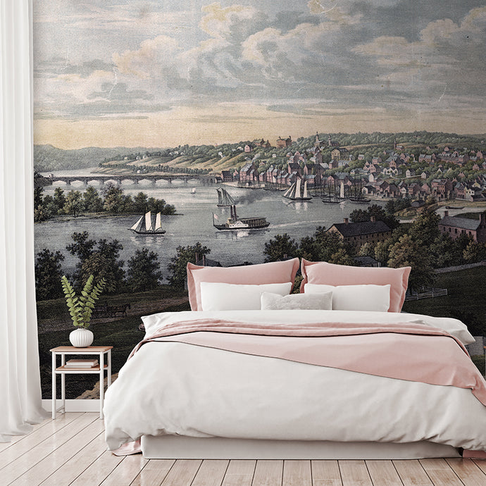 Wall Mural lifestyle image of Georgetown, Washington DC design in full color, printed on wallpaper. Custom options available.