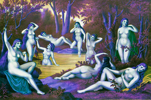 Wall Mural image of the Nine Muses from Grecian Myth in Purple & Green, printed on wallpaper. Custom options available.