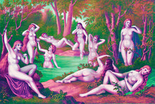 Load image into Gallery viewer, Wall Mural image of the Nine Muses from Grecian Myth in Pink & Green, printed on wallpaper. Custom options available.