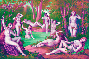 Wall Mural image of the Nine Muses from Grecian Myth in Pink & Green, printed on wallpaper. Custom options available.