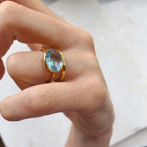 Oval Blue Topaz Chunky Ring