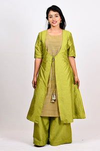 Byogi Soumya collection. This is a green double layered kurti for women. It has a Cotton a line kurta for women and a sleeveless jacket.