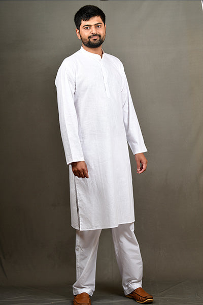 Linentouch Regular Kurta - White