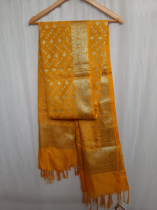 Deep Yellow Dupatta with Zig Zag Pattern