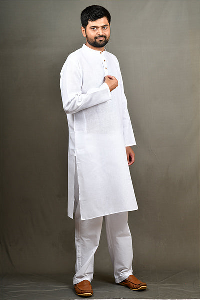 Cotton Linen Regular Kurta - White