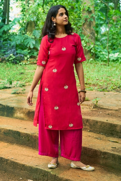 Fuchsia Jewels Kurta Pallazo Set