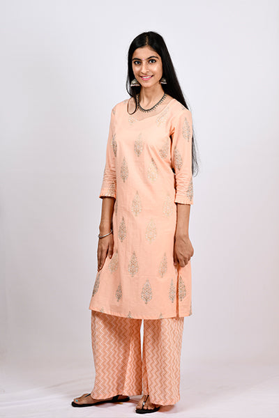 Pleated Sleeve Hem Kurti Pallazo Set