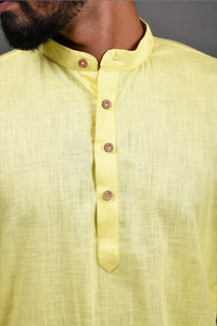 Cotton Linen Regular Kurta - Yellow
