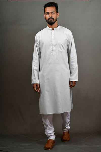 Linentouch Regular Kurta - Steel Grey