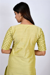 Byogi Soumya collection.This is the flipside of green Barfi embroidered kurtis latest design in the festive wear for women.