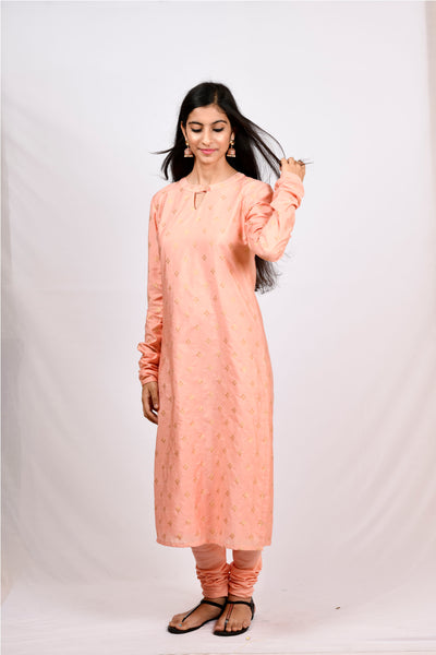 Byogi Soumya collection. This is a Churi sleeves kurti which is a festive women wear.