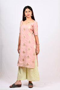 Byogi Soumya collection. This is a Jacquard kurti for women.  It comes under the Festive kurtas for women pink category. It is a kurti palazzo set for women.