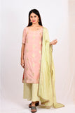 Byogi Soumya collection. This is a Jacquard kurti for women.  It comes under the Festive kurtas for women pink category. It is a kurti palazzo set for women with dupatta.