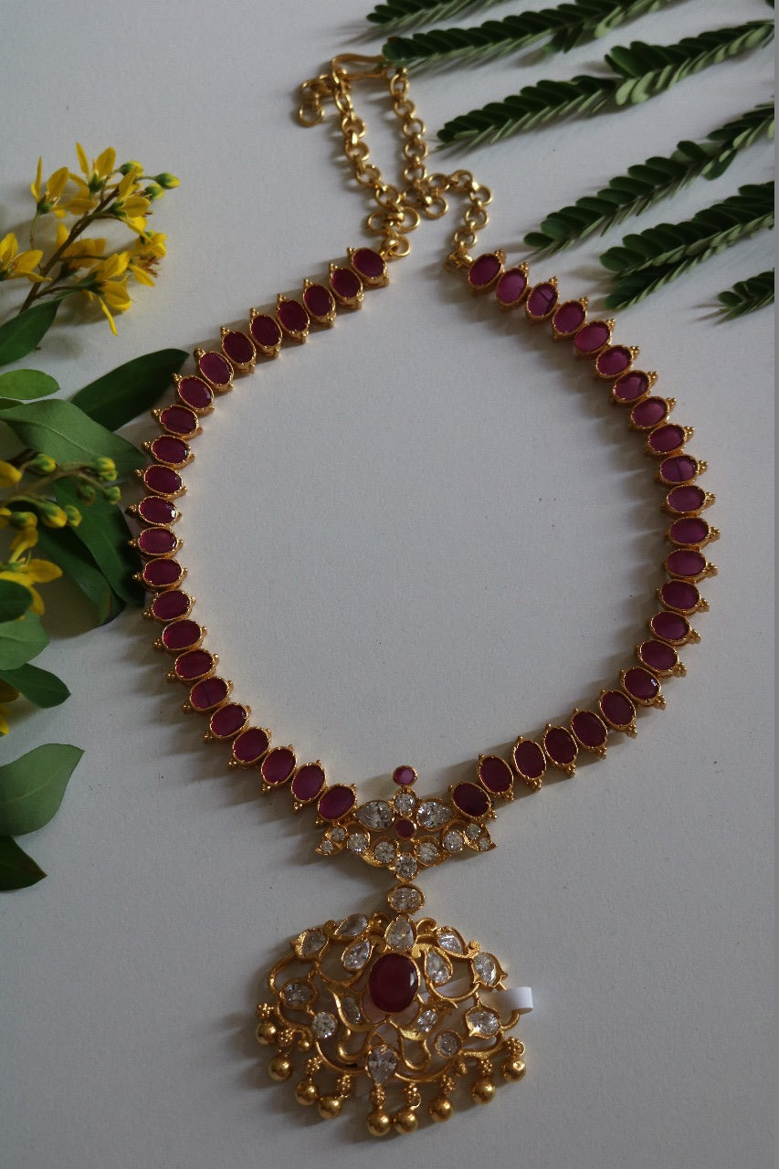 Ruby and Zircon stone Necklace