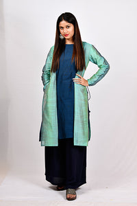 Byogi Soumya collection. This is Cotton a line kurtas for women. It comes under the Festive kurtas for women blue category. It contains Sleeveless A-line Kurti layered with an embroidered, straight-cut full sleeves jacket.