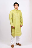 Cotton Jute Regular Kurta - Pale Green