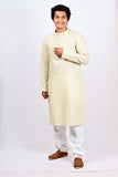 Jute off white kurta for men at BYOGI store