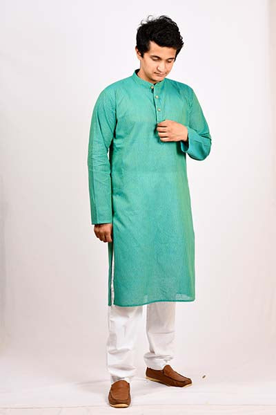 A BYOGI festive blue cotton kurta for men.