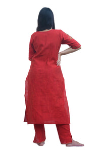 Floral Embroidered Red Kurti Set