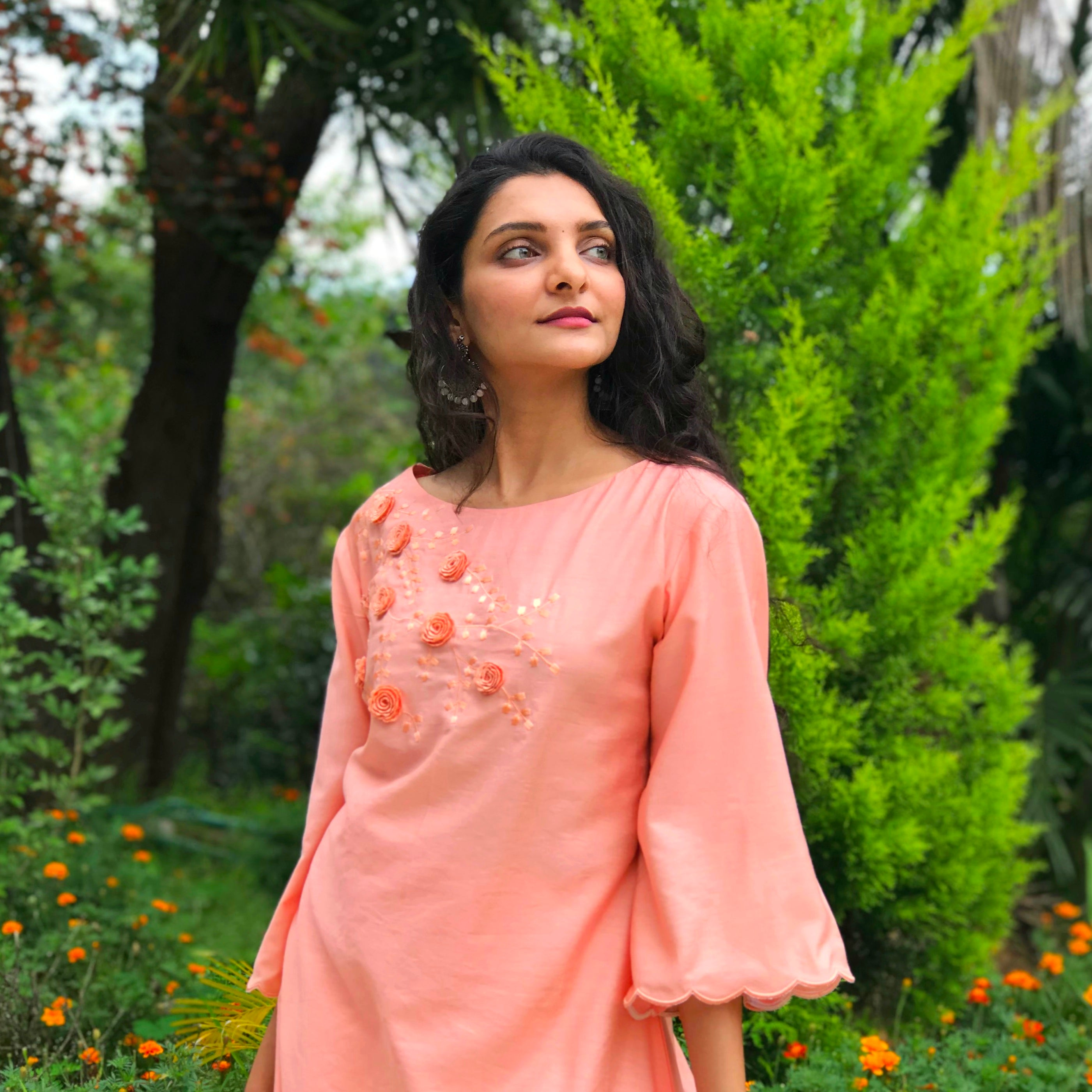 Pink High-Low Embroidered Kurti Set