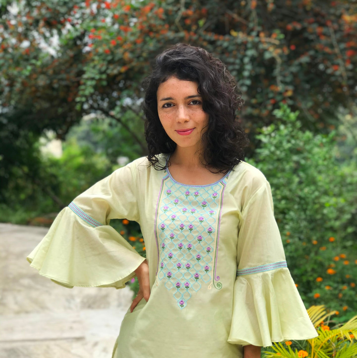 Green Embroidered Flared Sleeves Kurti Set
