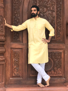 Army Cotton Regular kurta - Light Yellow