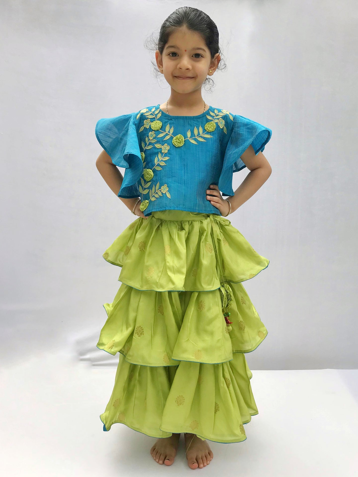 Green and Blue 3 Tiered skirt set