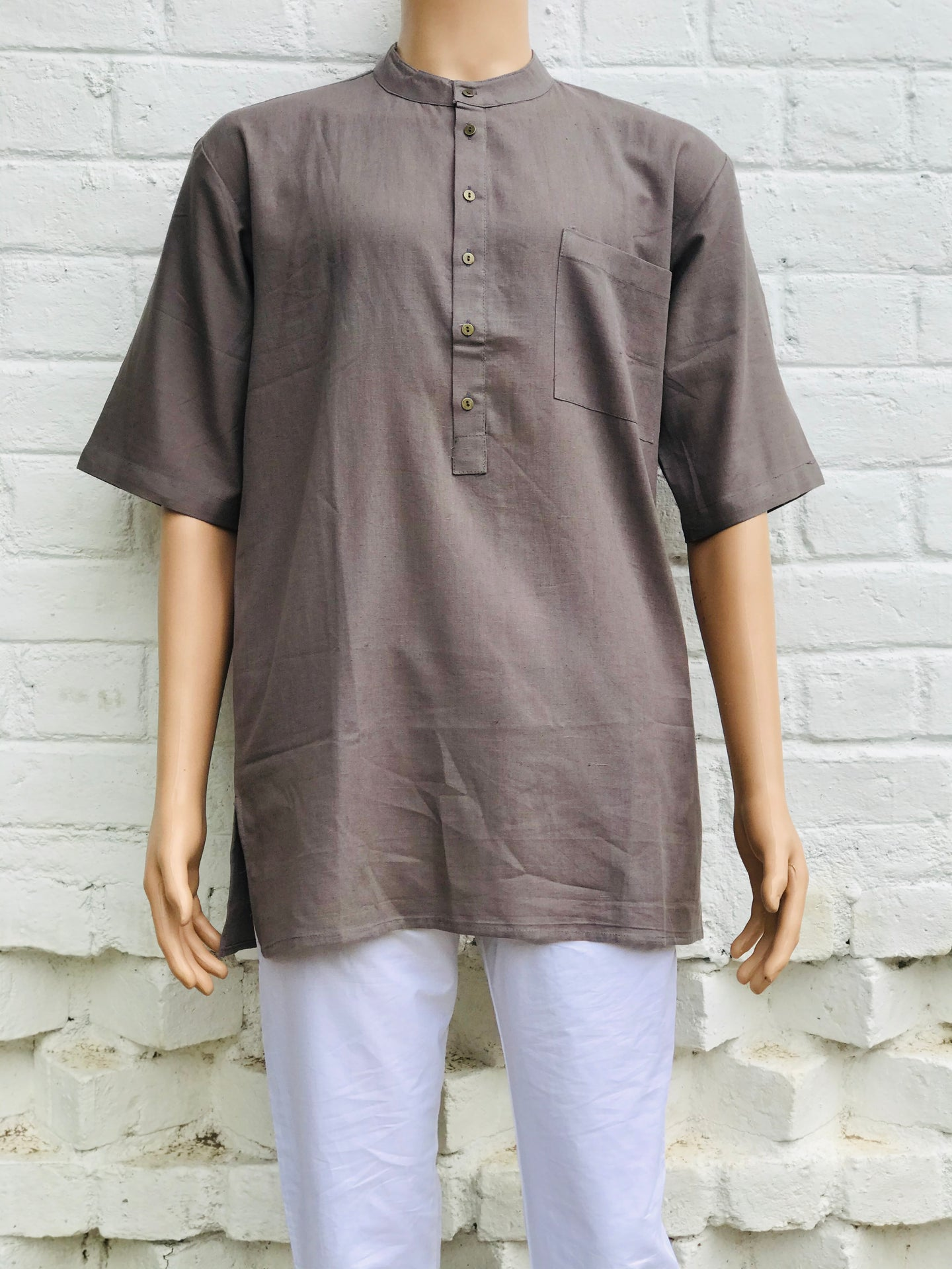 Short Kurtas Solid Flax - Smokey Gray