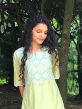 Load image into Gallery viewer, Green Yoke Embroidered Fit and Flared Kurti Set