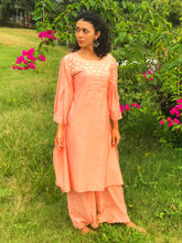 Load image into Gallery viewer, Lotus Embroidered Pleated Sleeve Kurta Set